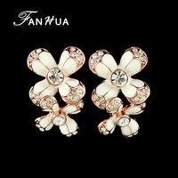 Design Cute 18K Gold Plated Alloy Rhinestone Brinco Enamel Flower Stud Earrings Indian Jewelry for Women