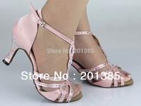 Wholesale Ladies Pink Satin Crystal Ballroom Latin Samba Salsa Ceroc Tango Jive Line Dance Shoes Size 34,35,36,37,38,39,40,41