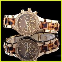 Famous Brand Luxury Sparkling Diamond Quartz Calendar Wrist Watch /w LOGO For ladies Girls