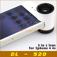 Fisheye lens GOD EYE Fish eye Wide Angle Macro 3 in 1 detachable lens for iPhone 4s 4 God's Eye mobile phone lens,1 pcs