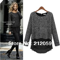 autumn fashion plus size clothing long sleeve women knitted chiffon shirt woolen outerwear  loose shirt
