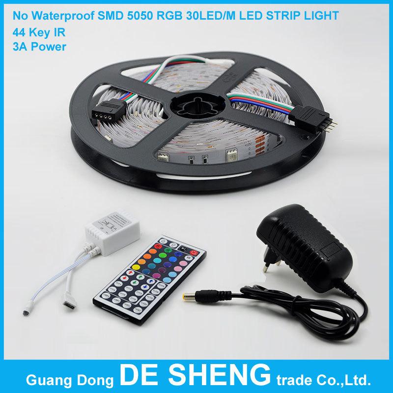 No Waterproof SMD 5050 RGB 30 led/m 150 LED 5M Strip Light epistar chip+44 Key Infrared IR+DC12V 3A Power supply free shipping!(China (Mainland))