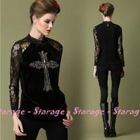 L-5XL Brand Plus Size Turtleneck Lace Cross Diamond Basic Shirt Velvet Long-Sleeve Basic T-shirts 2014 Spring Women Clothing 204