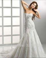 Custom-made 100% Guaranatee Wholesale Chiffon Taffeta Satin Wedding dress/top wedding dresses sall size