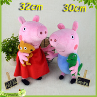 32cm Big Size 2pcs/lot Peppa and George Pig Toy Set Baby Kawaii Toy Plush Animals Children Birthday Gift Set Peppa Pig Family
