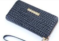 2014 female Zipper vintage PU soft leather wallets handbag for lady clutch money purse black color fashion brand free shipping