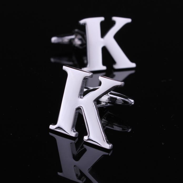 Camisa rara fantasia na moda Letra K cor prata Abotoaduras dos homens vestido de casamento do noivo Partido Negócios punho presente novo(China (Mainland))