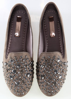 new arrivals European brands free shipping big size full of Hand-sewn Rhinestones diamonds women fashion shoes flats