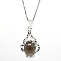 black tourmaline pendant  natural smoky quartz necklace pendant female short design 925 pure silver necklace  jewelry