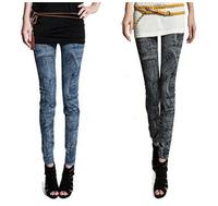 Faux denim legging jeans legging plus velvet female autumn winter ankle length trousers seamless print elastic bootcut pants