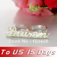 Freeshipping --Personalized Carrie Style Two Finger Silver Name Rings Couples Name Ring Custom Name Jewelry