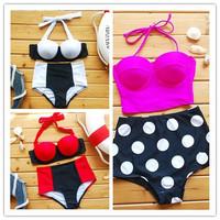 Free shipping 2014 new Cutest Retro Swimsuit Swimwear Vintage Pin Up High Waist Bikini Set S/M/L/XL