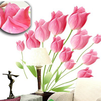1 set 24*28 inch Pink Tulip Flower Vinyl Wall Decals Wallpaper For Bedroom Wall Decoration