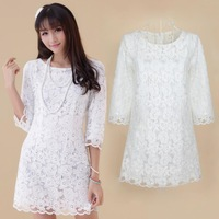 W61 Water Soluble Embroidered Flower Gauze Lace Dress Crochet Floral Lace Ruffles Dresses Saias Semininas Renda White