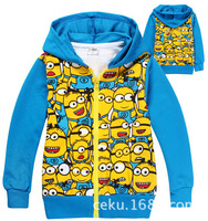 Retail! 1pcs kids cartoon outerwear,boys blue Despicable Me 2 minions hoodies,winter thick coat,kids long sleeve cotton hoodies