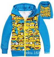 Retail! 1pcs kids cartoon outerwear,boys blue Despicable Me 2 minions hoodies,winter thick coat,kids long sleeve cotton hoodies