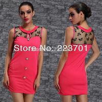 New Arrival Women Gauze Dress High Street Dresses Sexy button Sundress