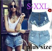 2013 summer Vintage women vintage high waist button hole washed out frayed hem extro short jeans denim distressed cutoffs shorts