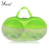 Free Shipping  Fashion good quality Shelf Bra Storage Organizer Bag Households STORAGE  fluorescence green with white lace bag