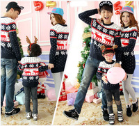 3 pcs for Family set Christmas sweaters navy blue Christmas sweater for parent-child matching Christmas sweaters for family