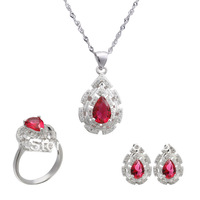 925 Sterling silver jewelry sets  jewelry suit  plated White Gold  necklace & pendant earrings ring new 2014  jewelry