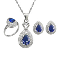 2014 NEW 925 Sterling silver jewelry sets  jewelry suit  plated White Gold  necklace & pendant earrings ring wedding jewelry