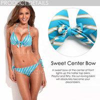 Original Brand Relleciga Bikini of the Year NEW Gorgeous Halter Top Blue Metallic Stripe Bikini Set with Molded Foam Padding