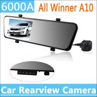 6000A Car Rearview Mirror Car Camera DVR Recorder Full HD 1080P Car DVRs Dual Lens 4.3%22 TFT LCD G-sensor 170 Degree Angle