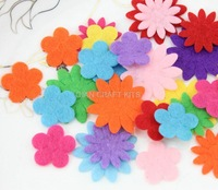 Set of 1000pcs 20-32mm Felt Pack Felt flower shaped multiple Colors wholesale free shipping-by0078ab