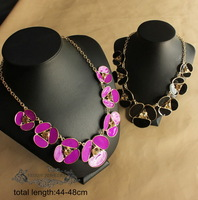 2013 fashion Free shipping ks Luxury Jewelry Modern Style  Golden Enamel Flower Statement Necklace OEM costume punk party Queen