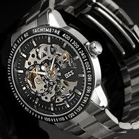 ESS Men's Golden Vintage Skeleton Antique Roman Numerals Leather Hand-Wind Up Mechanical Watch WM273-ESS