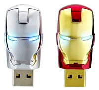 Free Shipping 2GB 4GB 8GB 16GB 32GB Creative USB Flash Drive Iron Man Model USB 2.0 LED Flash Memory Drive Stick