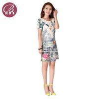 BAIYIMEI Brand New Summer dress 2014 New Bird Print Dress Women Clothing Short Sleeve Casual Dresses Free Shipping