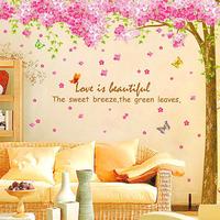 3set/lot Wholesale Pink Flower Wall Decals Vinyl Stickers Home Decor & Pink Tree Sakura Large Size Wall Stickers Home Decor