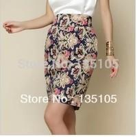 Free Shipping! Autumn Winter Womens Skirts New Fashion 2014 Korean Style High Waist Slim Fit Flower Print Pencil Skirt For Women
