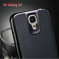 Luxury Chrome Case For Samsung Galaxy S4 i9500 Phone Bag with Plastic + PU Skin Back Cover 3 Styles, Free Screen Protector