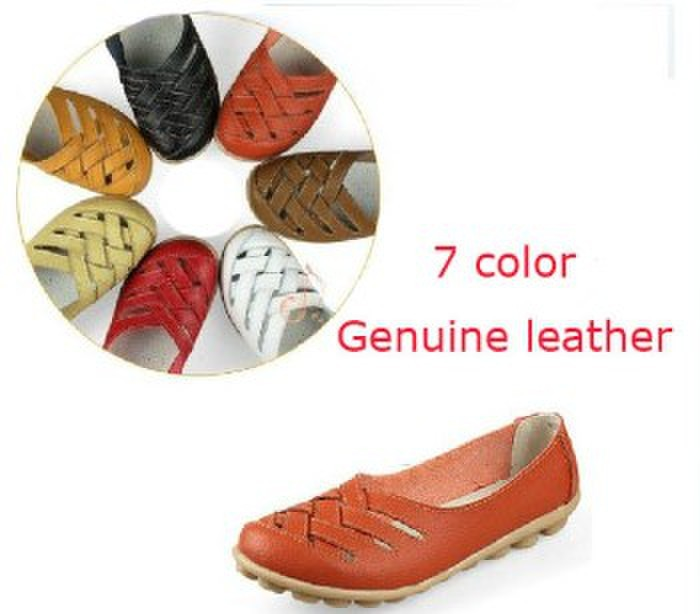 Free shipping 2014 hot style size35-40 fashion 7color cheap genuine leather flats mother shoes for women H0103(China (Mainland))