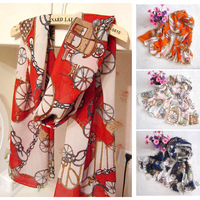 Free Shipping Fashion Women Chiffon Carriage Printed Scarves Cachecol Shawls Hijabs Designer Brand Scarf Winter Autumn A3571