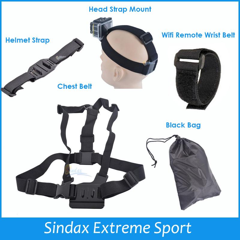 Gopro Accessories Chest Belt + WiFi Remote Wrist Belt + Head Strap Mount + Helmet Strap + Bag Go pro HD Hero3 2 Black Edition(China (Mainland))