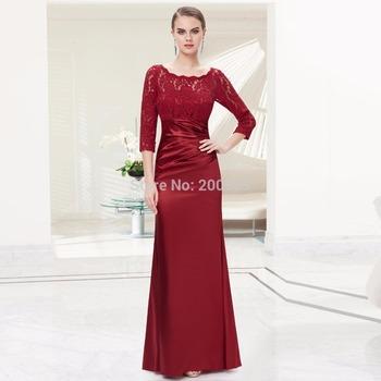 09882 Elegant Длинный Рукав Кружево Женщины's Длинный Черный Evening Dress Formal ...