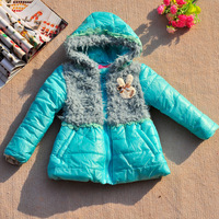 Free shipping girls winter two color fur chest rabbit cotton padded coat outwear children clothing 2014 $12.19