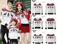 DHL Free Shipping 5sets/lot! Family Set sweaters parent child mathing Christmas sweater Xmas tree/reindeer sweater for family