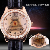 2 Different Colors Fashion Casual Luxurious Women Crystal Rhinestone Eiffel Tower Quartz Wrist Watch Faux Leather 2014 new