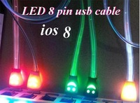 200pcs/lot * LED light Smile Face Micro USB Data Sync Charging charger Flat Cable For  iphone 5s 5c 5 6 plus ios 8 ipad air mini