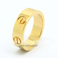 NEW Gold Stainless Steel Ring Band Men Lady Screws Style Nail Engraved