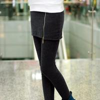 New 2014 Autumn and winter legging zipper personalized basic skirt pants warm pants Free shipping