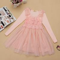Autumn girl dress gauze lace long-sleeve dress  princess dress