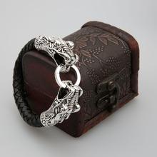 leather Tibetan silver men bracelet titanium fashion male vintage accessories parataxis dragon bracelet men jewelry TH