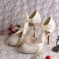 European Style Classic Custom 10cm Heel Spring Autumn White Lace Bride Wedding Shoes for Women