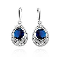 2014 star style fashion earring Gold-plated water drop shape inlaid a shiny stone drop  earrings for women yilia